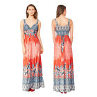 Stella Morgan Womens Designer Paisley Print Maxi Ladies Plunge V Neck Long Dress