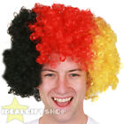 FOOTBALL SUPPORTERS BLACK RED AND YELLOW AFRO WIG NOVELTY HAIR FOR SPORTS EVENT