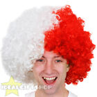 FOOTBALL TEAM SUPPORTERS WHITE AND RED AFRO WIG NOVELTY HAIR FOR SPORTS EVENT