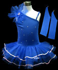 Blue Fairy Children Girls Ballet Dance Dress Leotard Tutu Glove Party Skirt 1-9Y