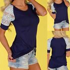 Fashion Women Summer Vest Blouse Casual Tank Tops Lace T-Shirt Short Sleeve