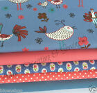 FRENCH HENS blue/ pink floral 100% cotton fabric bundles FQ half metre or metres