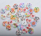 20/50/100Pcs white wood painted Sewing Buttons 2holes 15MM