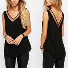 Women Fashion Casual Lace Sleeveless V-Neck Vest Loose T-Shirt Tank Top