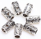 25/50X Tibetan Silver Carved Tube Charm Loose Spacer Beads Jewelry Making 8x5mm