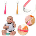 Baby Tableware Thermal Feeding Silicone Spoon Kids Weaning Handle Spoon EW