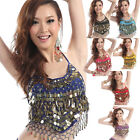 Women Tribal Belly Dance Sequins Beads Peppers Gold Coins Halter Top Bra Costume