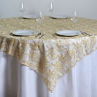 "72x72"" Floral Lace TABLE OVERLAY Wedding Linens Tablecloths Wholesale"