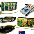 Triple Zip Genuine Leather Ladies Womens Cross Body Bag Wristlet Xbody Bag