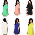 Womens Chiffon Dress Comfortable Short Sleeves Casual Dew Shoulder Shirt Dresses
