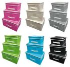 3 PIECE STORAGE BOX SET FOLDING FABRIC CANVAS CHEST KIDS TOY ROOM TIDY ORGANISER