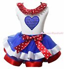 Bling Blue Heart 4th July White Top BWR Satin Trim Skirt Girls Outfit Set NB-8Y