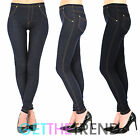 Womens Plus Size High Waisted Denim Blue Black Jeggings Jean Leggings 6 - 32