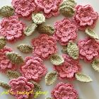 NEEDLE ART HAND MADE CROCHET BABY COTTON PINK FLOWER GREEN LEAVES CUTE APPLIQUE