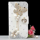Fashion Bling Diamond Crystal PU Leather Card Wallet Case Stand Cover For LG