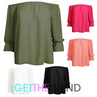 Women Ladies Off Shoulder Bardot Frill Stretch Summer Gypsy Blouse Crop Top 8-14
