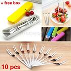 10X Stainless Steel Fruit Fork Two Tooth Dessert Fork Home Kitchen Supplies Cake