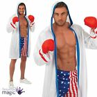 Mens USA Rocky Film Boxer Boxing Shorts Jacket Gloves Fancy Dress Costume Outfit