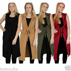 Womens Ladies Celeb Sleeveless Belted Crepe Textured Open Long Waistcoat Jacket