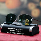 NEW MENS CLASSIC AVIATOR POLICE COP PILOT GREEN LENS METAL FRAME SUNGLASSES