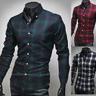 New Fashion Men Long Sleeve Slim Fit Check Business Casual Dress Shirts Top W822
