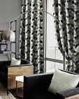 EDEN LINED EYELET CURTAINS BLACK & SILVER LUXURY FAUX SILK LEAF READY MADE PAIRS