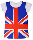 Girls Short Sleeved Union Jack T-Shirt New Kids Olympics Top Ages 7-13 Years