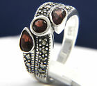 New Women's Sterling Silver 0.29 ct Garnet Three-Stone CZ Engagement Ring