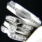 0.79 CT CZ Stainless Steel Womans Engagement Mans Wedding Bridal Band Ring Set