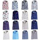 Women's Vintage Long Sleeve Cotton Tops Casual Loose Floral Print Shirts Blouse