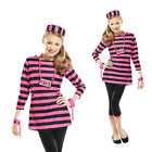 Teens Miss Dee Meaner Outfit New Girls Convict Costume Kids Prisoner Fancy Dress
