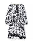 Boden Women's Brand New Batwing Dress Ivory & Navy Print
