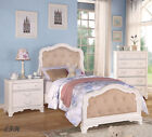 NEW CHELSEA TUFTED MICROFIBER ANTIQUED WHITE FINISH WOOD TWIN or FULL SLEIGH BED