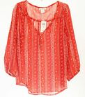 Lucky Brand Paisley Sheer Top Blouse 7WD4469 S NWT