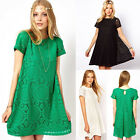 Women's Summer Stunning Lace Floral Ladies Celeb Party Skater Dress Short Sleeve