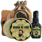 2.5 oz BEARD BUTTER Conditioner + 1oz OIL + COMB & BAG by BEARD of GOD | Organic