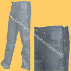 MENS LEATHER JEANS PANTS BIKER MOTORCYCLE SIDE LACES