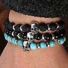 TOP SALE Mens Lava Stone Skull Head Charm Beaded Rock Elastic Bracelet Bangle
