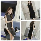 Sexy Women's Casual Loose Summer Two Side High Split Blouse T-Shirt Tops Dress