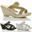 WOMENS LADIES HIGH HEEL WEDGE STRAPPY DIAMANTE PLATFORM MULES PROM SANDALS SIZE