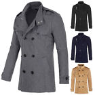 Winter Mens Double Breasted Wool Coat Jacket Trench Pea Coat Overcoat Size S -XL