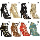 Womens Ladies Barely There High Heel Ankle Cut Out Strappy Party Sandals Size