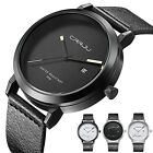 Men Stainless Steel Analog Quartz Military Sport Leather Date Dial Wrist Watch