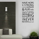 Family Love Have Hope Art Wall Quotes Vinyl Mural Decor Stickers Wall Decals