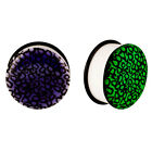 Acrylic GLOW IN THE DARK Numbers Single Flared Plugs Ear Earlet Purple