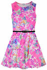 Girls Sleeveless Tropical Neon Floral Skater Dress New Kids Dresses Age 7-13 Yrs