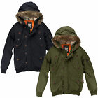 Mens Faux Fur Hooded Jacket Brave Soul New Classic Quilted Bomber Winter Coat