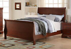 Kids Youth Bedroom Twin Full Sleigh Bed Curved Headboard Footboard Wood Cherry