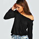 Womens Ladies Off Shoulder Bardot Long Sleeve Casual Stretchy Tee T Shirt Tops