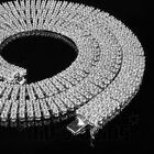 18k White Gold 4 Row AAA Simulated Diamond Iced Out Tennis Chain HipHop Necklace